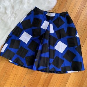 Lane Bryant Pleated Blue Square Print Skirt